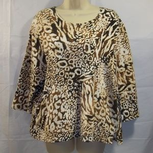 Alfred Dunner Womens Top Blouse 3/4 Sleeve Size PL